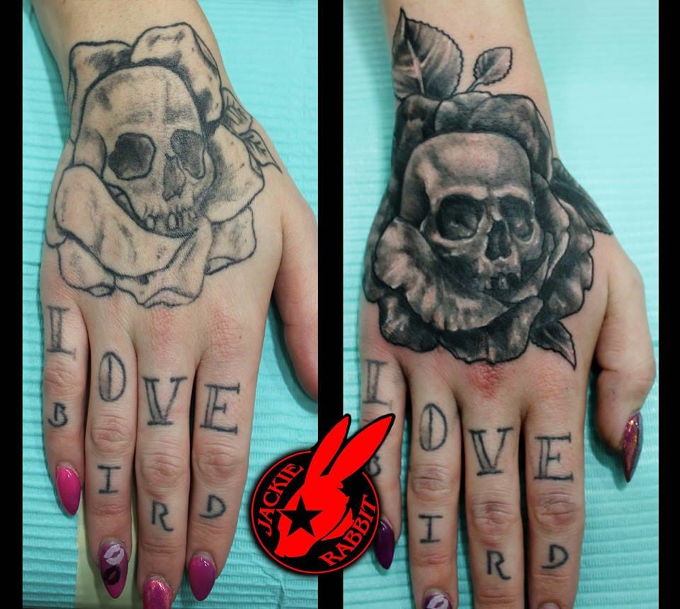 Small Skull Tattoo by Jackie Rabbit