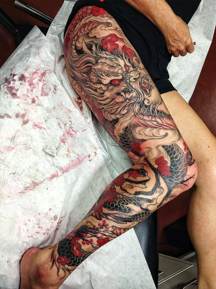 Leg sleeve goals, artist unknown. #legsleeve #japanese