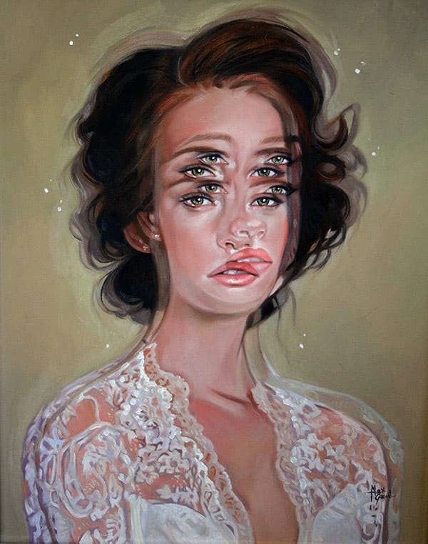 Alexandra is famous for her portraits with several eyes, creating a disturbing effect.