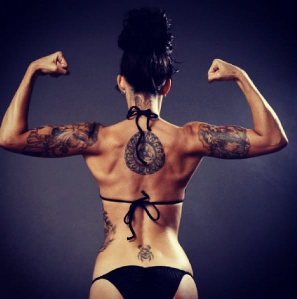 The tattooed gym rat knows that talent and beauty are achieved through hard work.
