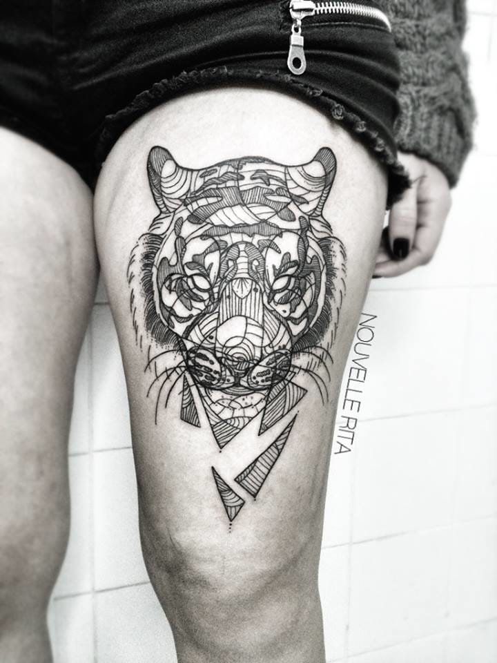 Cool tiger thigh piece.