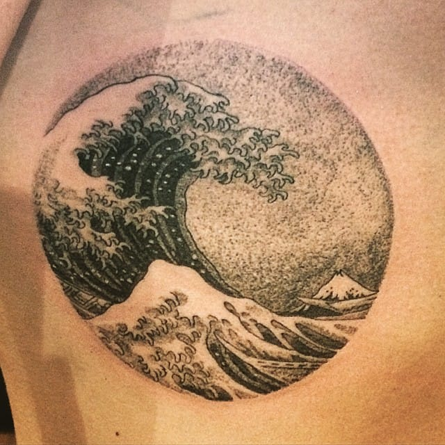 Dotwork Hokusai Wave Tattoo by Clyde Ck