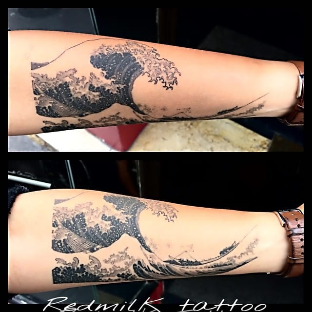 Hokusai Wave Tattoo by Red Milk Tattoo