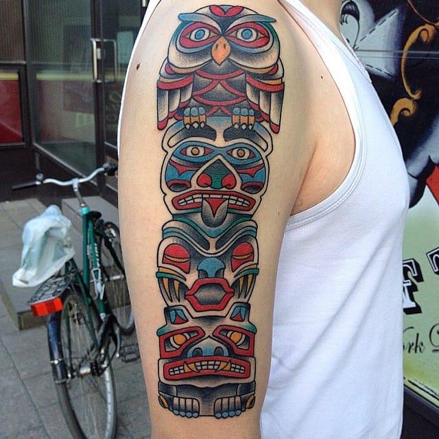 Totem Pole Tattoo by Ville Mäki