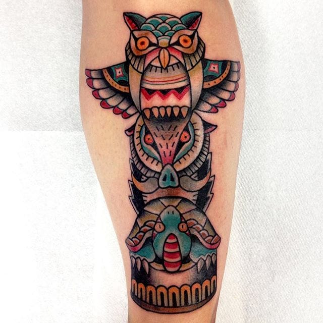 Great Totem Pole Tattoo by Squid Yu