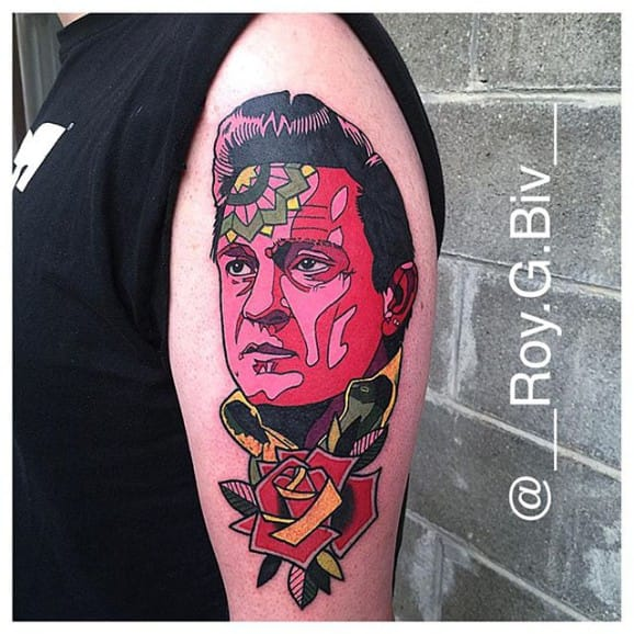 Abstract Johnny Cash Tattoo by Geary Morrill