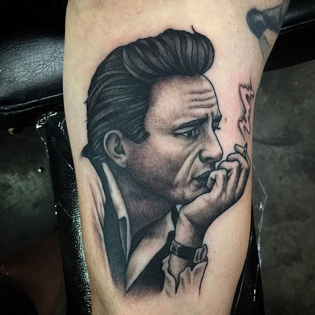 Great Johnny Cash Tattoo by Austin Bunker