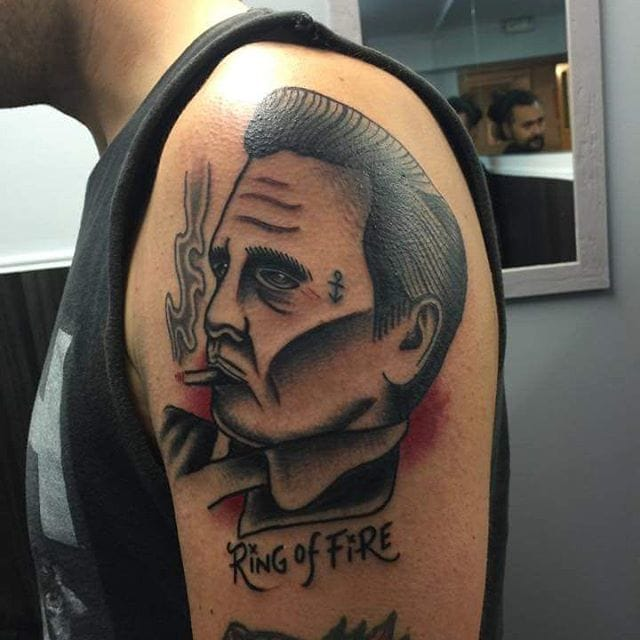 Traditional Style Johnny Cash Tattoo by Axio Tls
