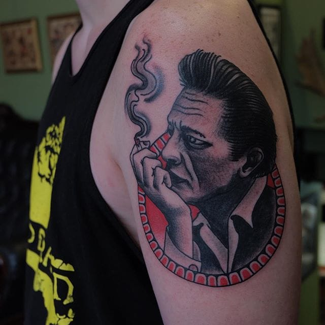 Old School Johnny Cash Tattoo by Mitch Kirilo