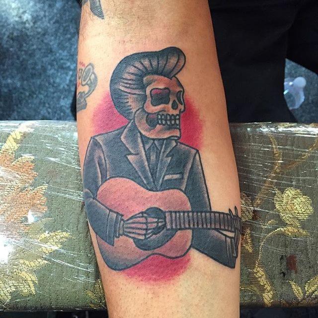 Skeleton Johnny Cash Tattoo by James White