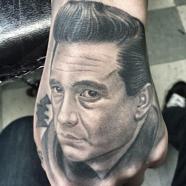 Johnny Cash Hand Tattoo by Abe Mendoza