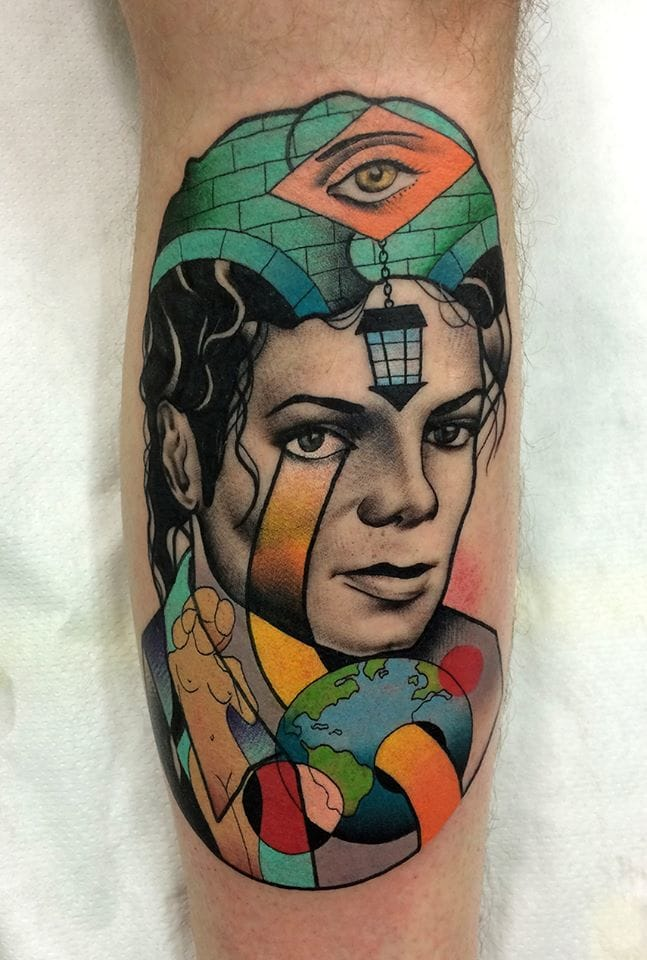 So much to look at in this multi-dimensional Michael Jackson tattoo. Photo credit: Mariusz Trubisz Facebook page.