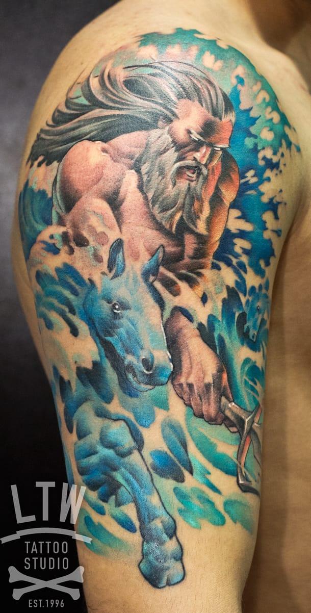 Poseidon Tattoo by Jon Pall