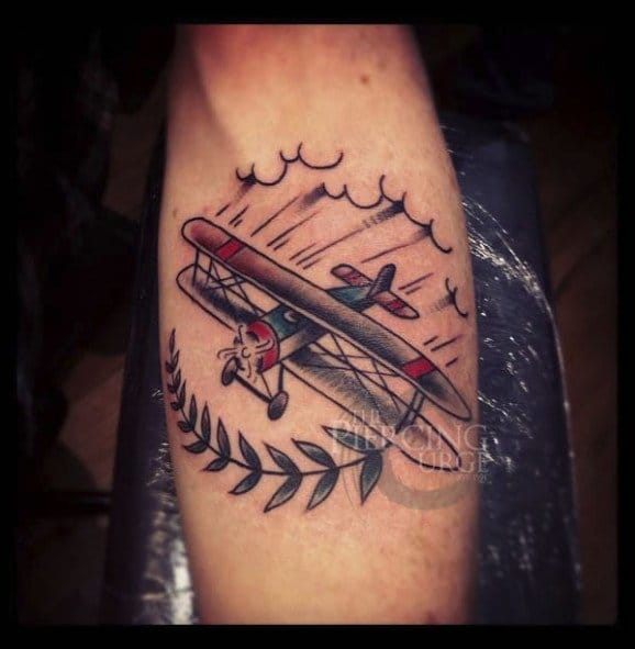 Biplane Tattoo by Ben Koopman
