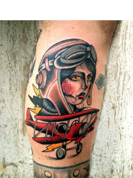 Old School Biplane Tattoo by Gianni Orlandini