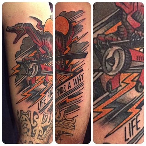 Bold Biplane Tattoo by Rodrigo DC