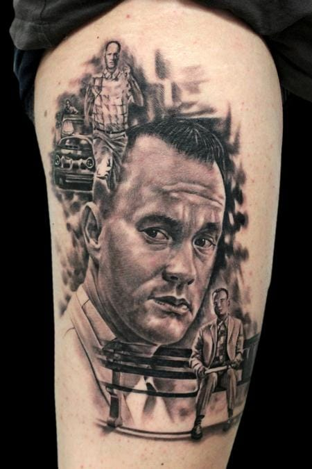 Black and Grey Forrest Gump Tattoo by Jhon Gutti