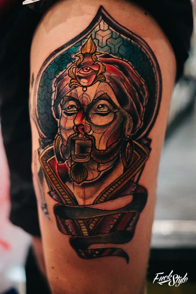 Is this neo traditional ink of Zoltar from the Tom Hanks movie Big? Photography courtesy of Mauricio Beltran Rodriguez