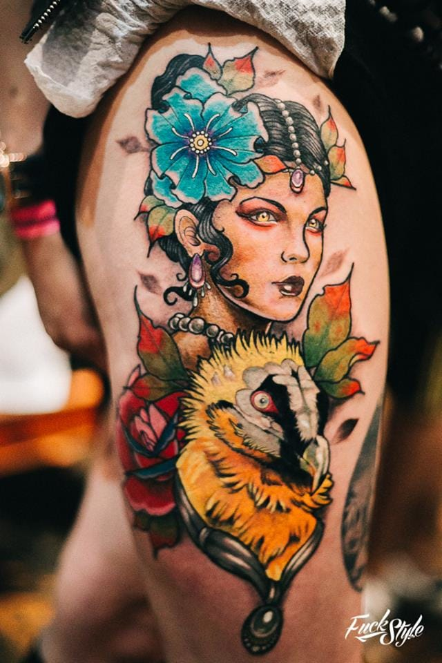 Amazing vibrant colors on this Neo Traditional tattoo. Photography courtesy of Mauricio Beltran Rodriguez