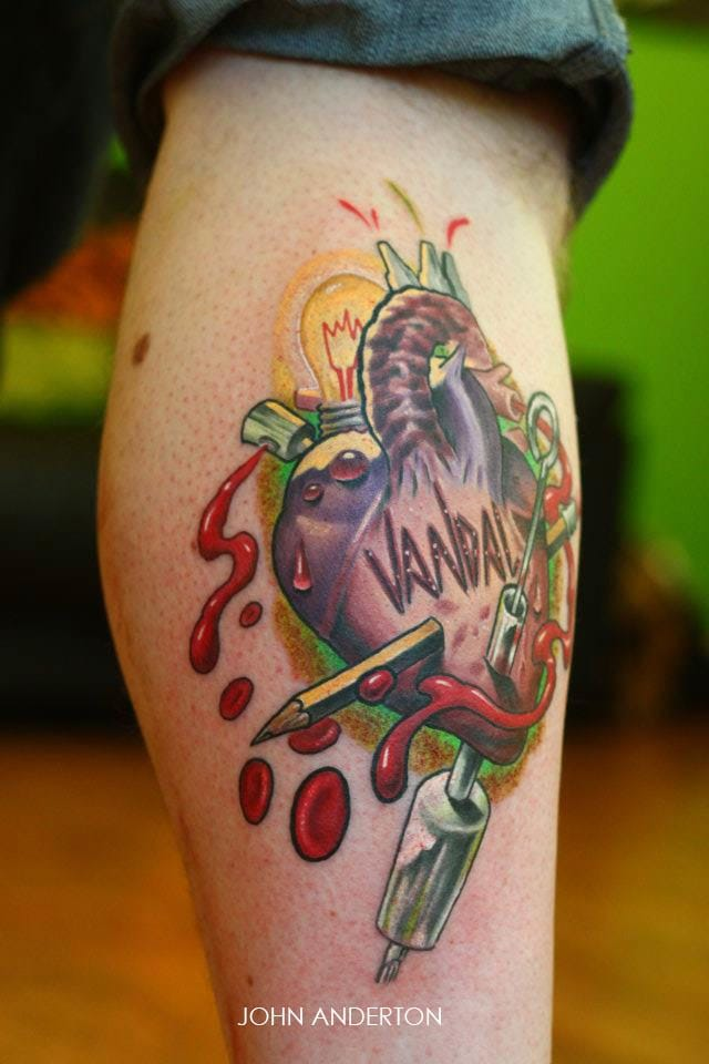 Another anatomical heart by new school artist John Anderton.