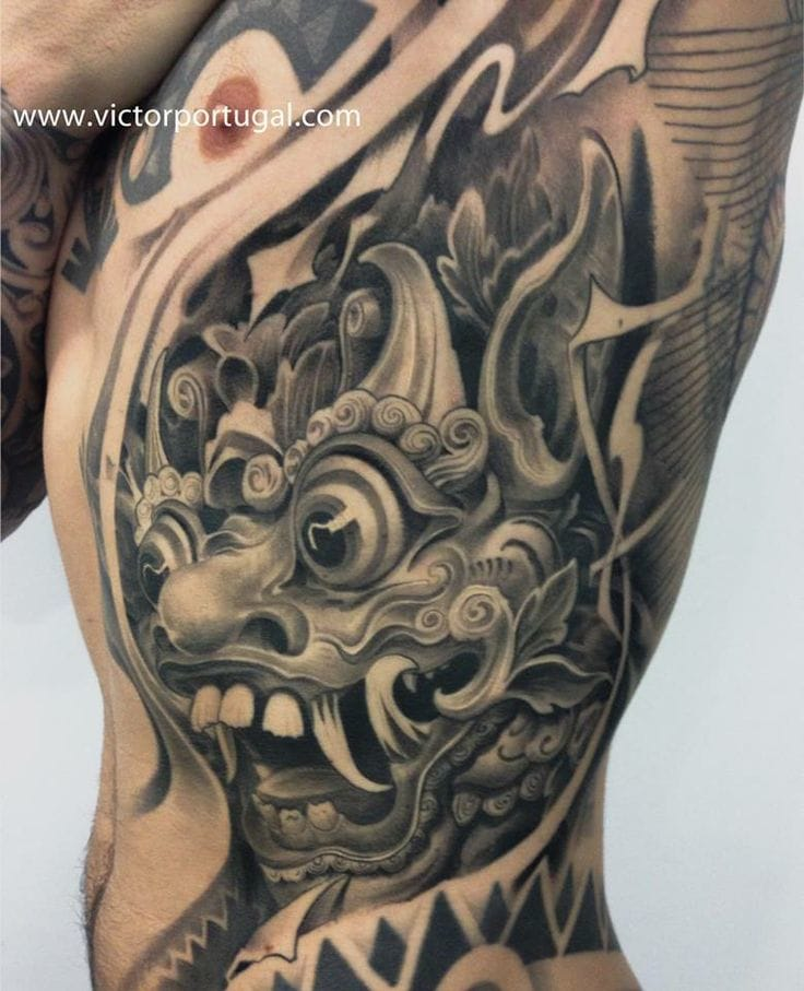 16 Fabulous Balinese Mask Tattoos