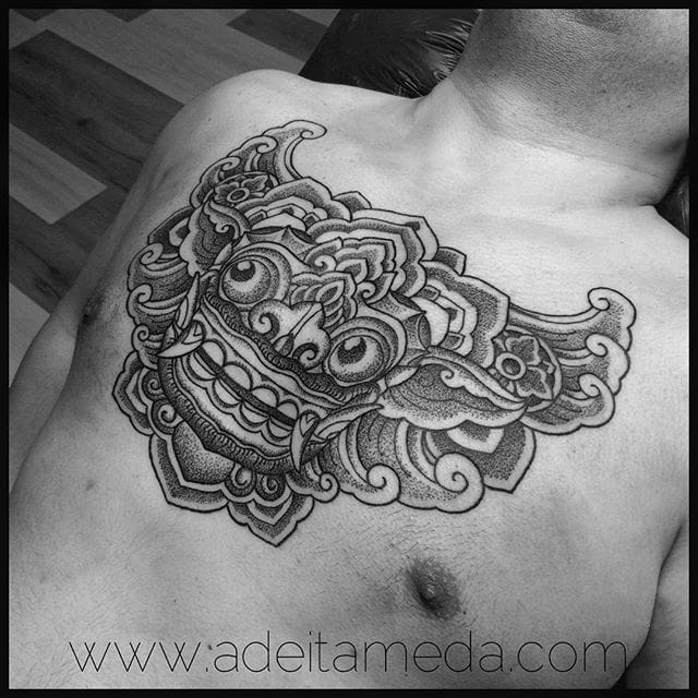 Sweet Barong dotwork by Ade Itameda.