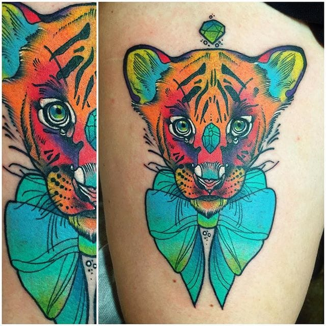 Psychedelic tiger tattoo - photo#19