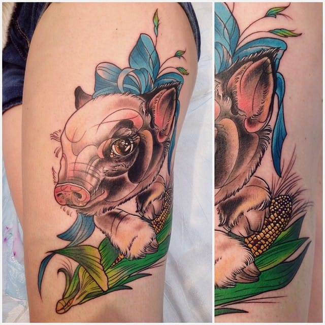 Lovely baby pig by Katie Shocrylas.