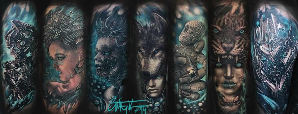 Some rad tattoos by Piotr Cwiek!