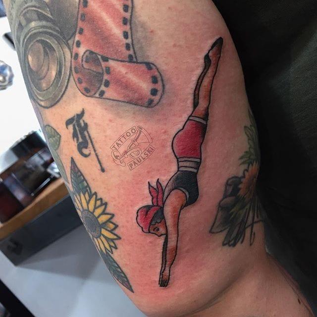 Diving Girl Tattoo by Tattoo Paulski