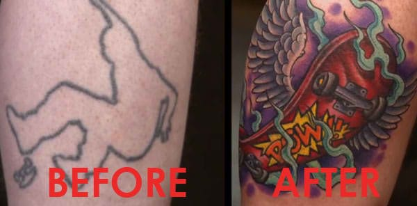 Skater tattoo dynamically transformed by Megan Massacre on America's Worst Tattoos.