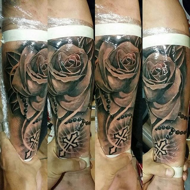 Rose Rosary Tattoo by Batez Tattoos