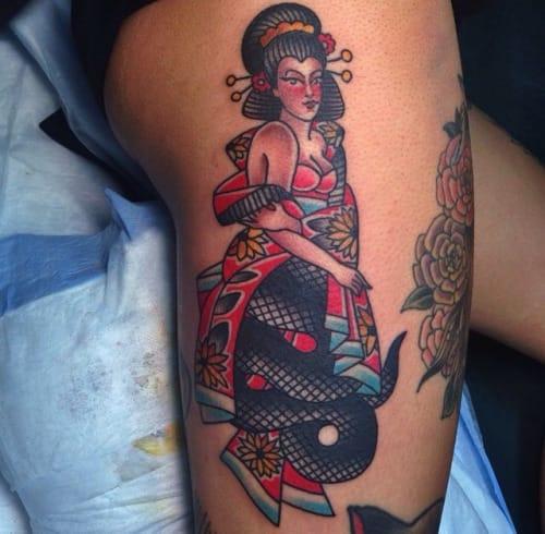 Snake lady tattoo by Marina Inoue