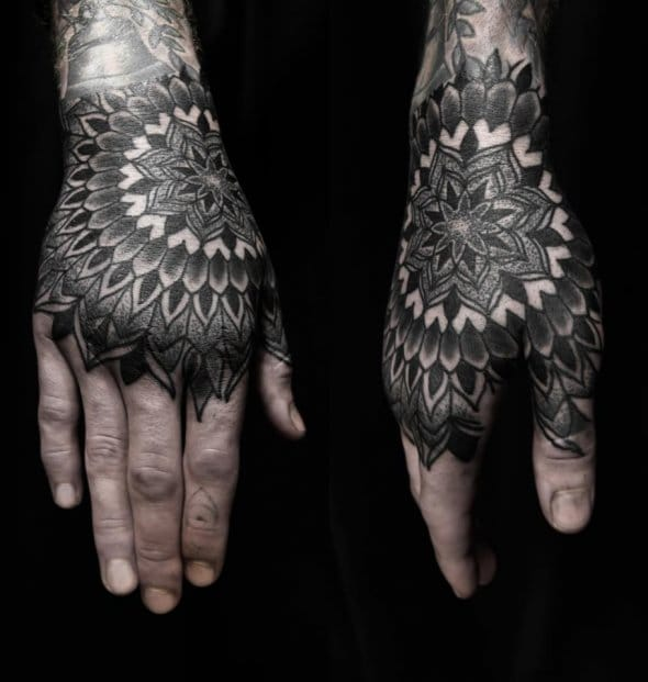 Dotwork Hand Tattoo by Alex Arnautov
