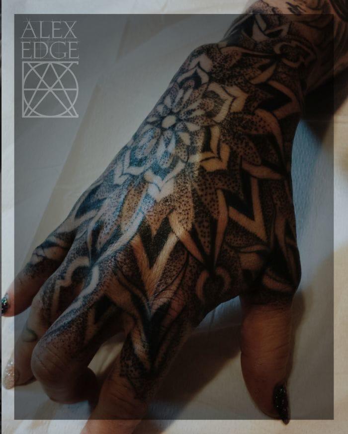 Dotwork Hand Tattoo by Alex Edge