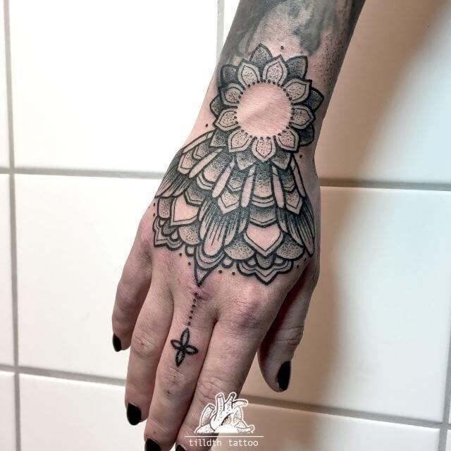 Geometric Dotwork Hand Tattoo by Tilldth Tattoo