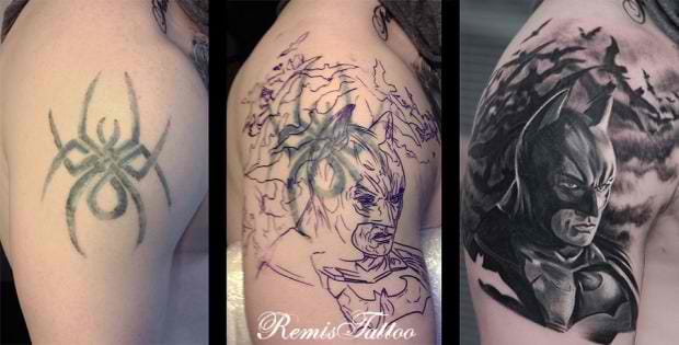 An old spider transformed into a badass Batman tattoo by deviantart artist (and tattoo artist) Remis.