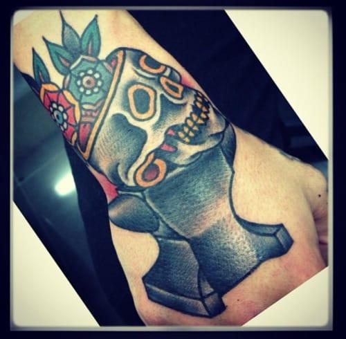Skull Anvil Tattoo by El Bara
