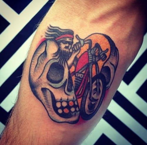 Biker Skull Tattoo by Dennis Gutierrez