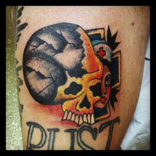 Skull Nurse Tattoo by Adam P Shrewsbury