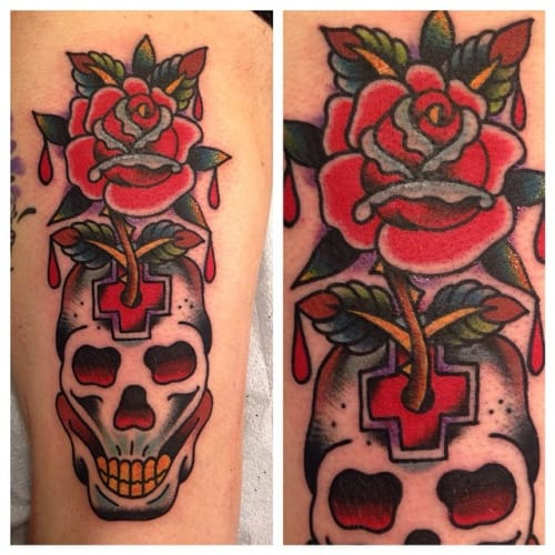 Skull Rose Tattoo by Great Lakes Tattoo