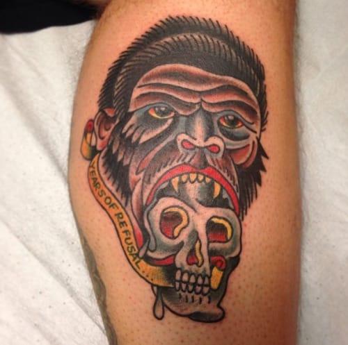 Gorilla Skull Tattoo by Mario Desa