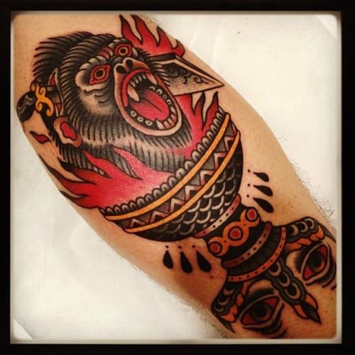 Awesome Gorilla Tattoo by El Bara