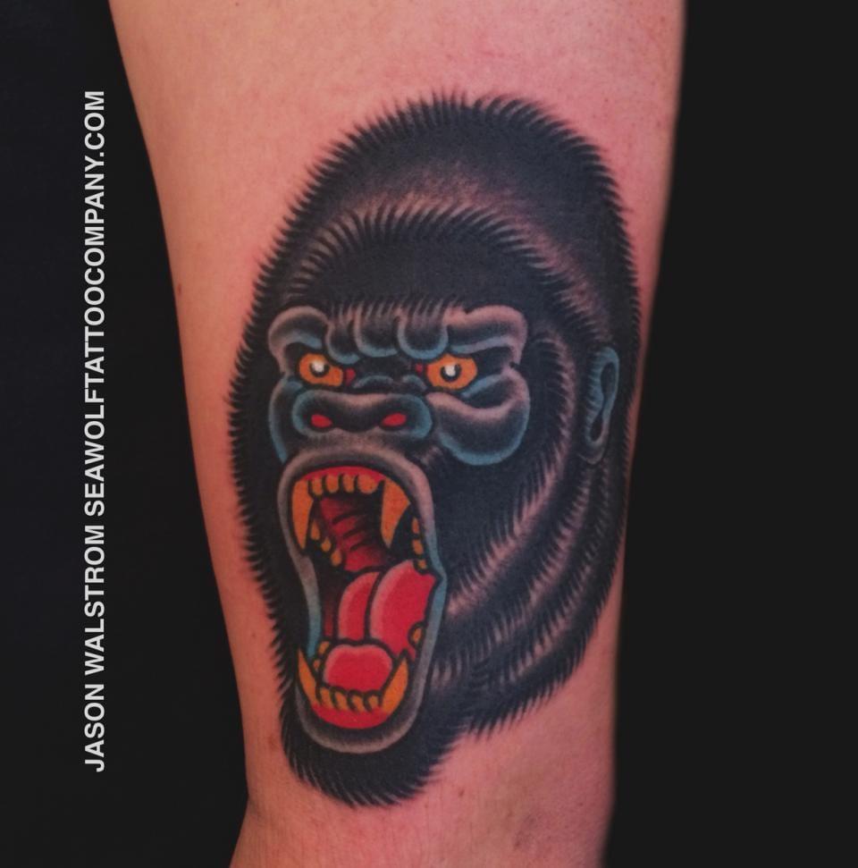 Bold Gorilla Tattoo by Jason Walstrom