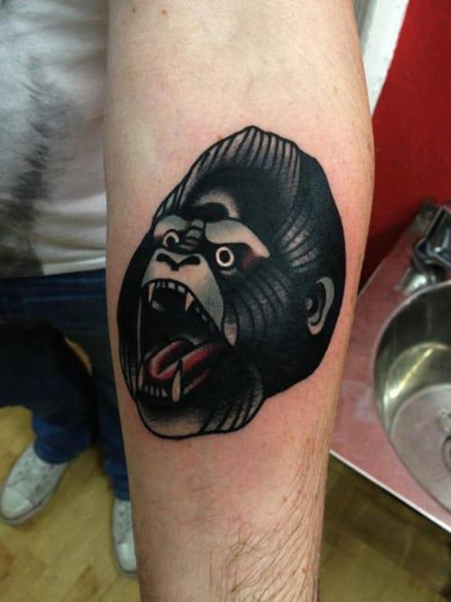 Solid Gorilla Head Tattoo by Joe Ellis