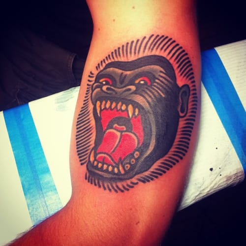 Gorilla Head Tattoo by Josh Stephens