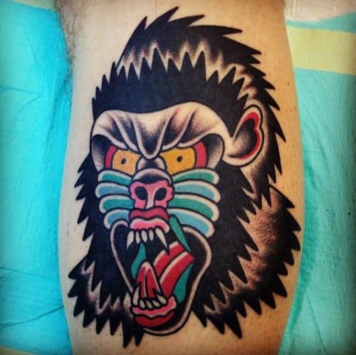 Gorilla Head Tattoo by Mikey Holmes