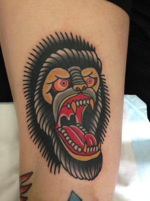 Gorilla Head Tattoo by Mitch Love