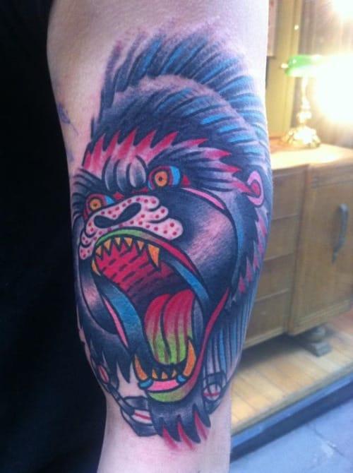 Brilliant Gorilla Head Tattoo by Tom Flanagan