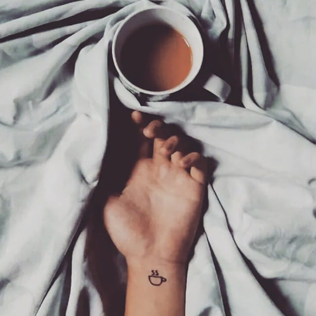 Cute coffee-inspired tiny tattoo, @lacolecionadora